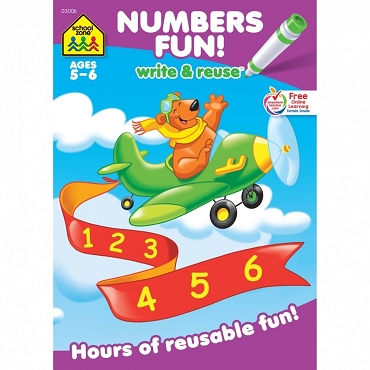 WRITE & REUSE: NUMBERS FUN! Ages 5-6, 26 pages