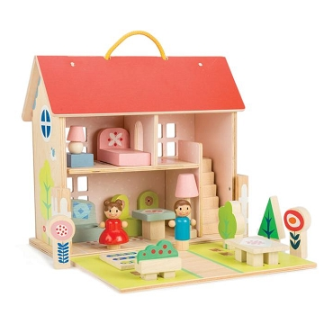 WOODEN DOLL HOUSE SET 18pc with CARRY HANDLE