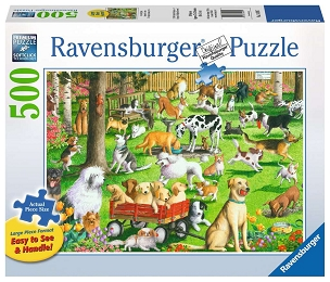 RAVENSBURGER: AT THE DOG PARK 500pc Lrg Pc (Retired)