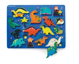 16pc WOOD PUZZLE/PLAY SET: DINOSAUR